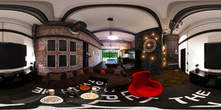 room accent: 3d illustration spherical 360 degrees, seamless panorama of interior design in loft style. Stock Photo