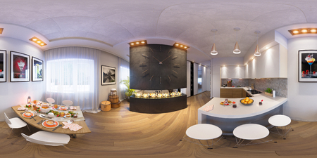 3d illustration spherical 360 degrees, seamless panorama of kitchen and dining room Halloween interior design. The kitchen and dining room in a modren style with fireplace and decorated for Halloween