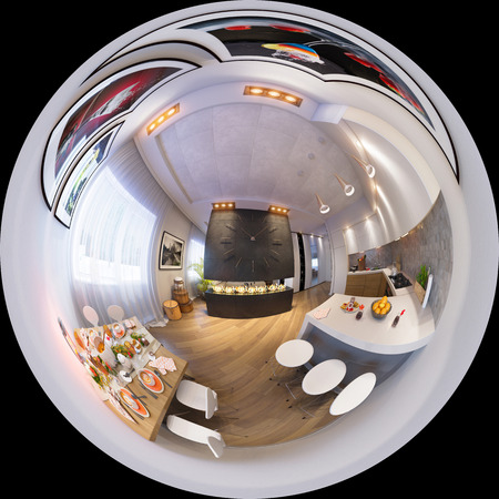 3d illustration spherical 360 degrees, seamless panorama of kitchen and dining room Halloween interior design little planet. The kitchen and dining room in a modren style with fireplace and decorated for Halloween
