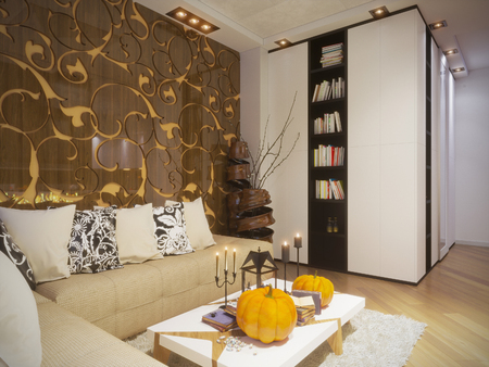 living room design: 3d illustration of interior design living room in a minimalist style and is decorated for Halloween Stock Photo