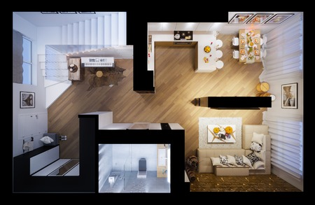 3d illustration of a townhouse interior design in a modern style. Interior shown in top view