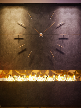 3d illustration of wall clocks and modern bio fireplaces Stock Photo