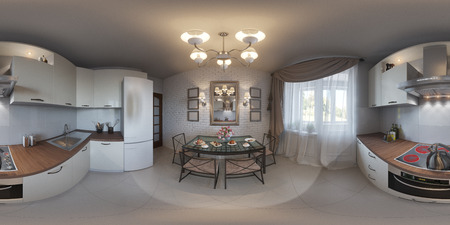 equirectangular: 3d illustration spherical 360 degrees, seamless panorama of kitchen interior design. Modern studio apartment in the Scandinavian minimalist style Stock Photo