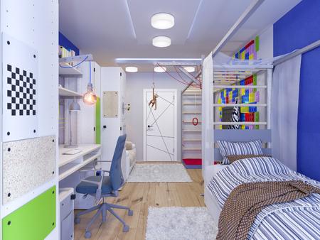 juguetes de madera: 3d ilustración de la sala de diseño de interiores de los niños para un niño en tonos de color brillantes