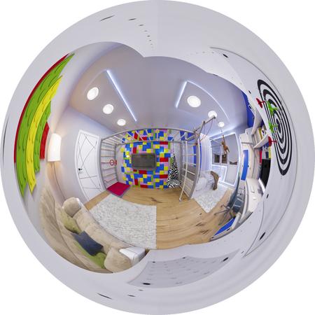 3D-afbeelding bolvormige 360 graden naadloze panorama van kinderkamer interieur. Het ontwerpen van de kamer van een kind voor een jongen in heldere kleuren.