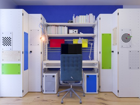 desk toy: 3d illustration of interior design childrens room for a boy in bright color tones