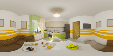 3d illustration spherical 360 degrees, seamless panorama of kitchen interior design. Modern studio apartment in the Scandinavian minimalist style Stockfoto