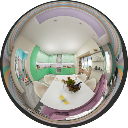 equirectangular: 3d illustration spherical 360 degrees, seamless panorama of  living room and kitchen interior design. Modern studio apartment in the Scandinavian minimalist style
