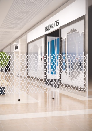 folding screens: 3d illustration of sliding folding screens in the shopping mall