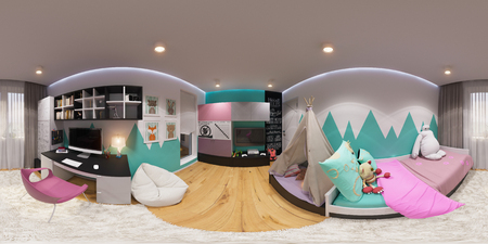 modern apartment: 3d illustration spherical 360 degrees, seamless panorama of childrens room interior design. Design a childs room for a boy in bright color tones