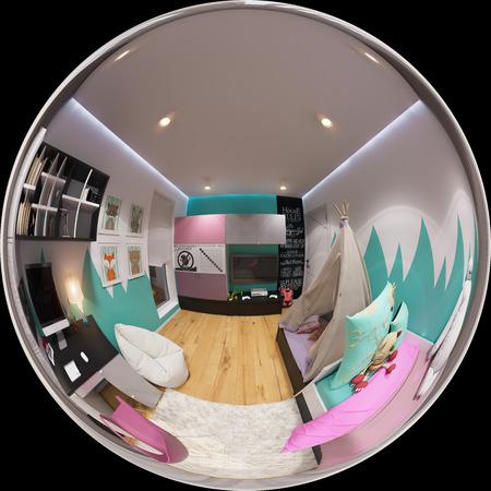 3D-afbeelding bolvormige 360 graden naadloze panorama van kinderkamer interieur. Het ontwerpen van de kamer van een kind voor een jongen in heldere kleurtinten