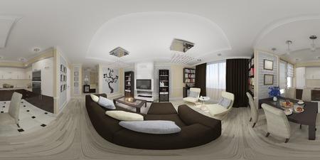 3 d イラスト球形 360 度、リビング ルームとキッチンのインテリア デザインのシームレスなパノラマ。 写真素材