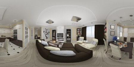3d illustration spherical 360 degrees, seamless panorama of living room and kitchen interior design. Stock Photo