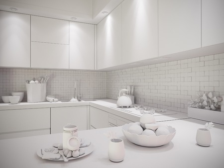 apartment suite: 3d illustration of a townhouse interior design kitchen in a modern, minimalist style. The interior in black and white, without textures