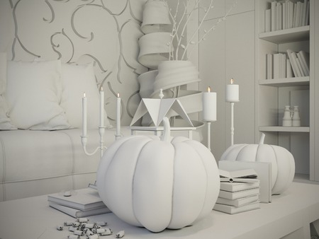 3d darstellung wohnzimmer und küche interieur. moderne studio