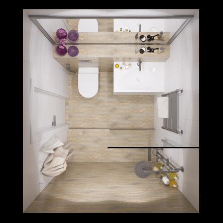 3d illustration of interior design bathroom with a tile woodgrain. Visualization is shown in plan view Archivio Fotografico