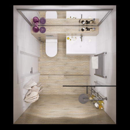3d illustration of interior design bathroom with a tile woodgrain. Visualization is shown in plan view Stock Photo