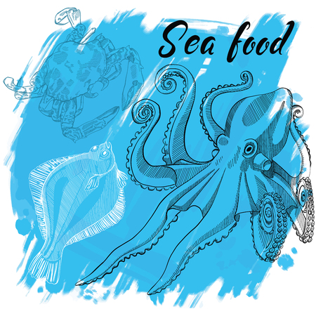 Vector illustration a seafood restaurant menu