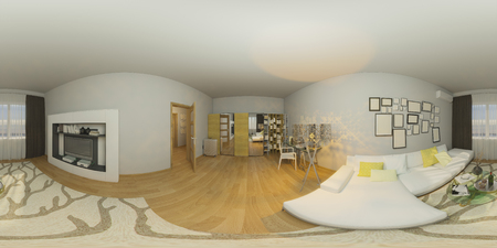 equirectangular: 3d illustration 360 degrees panorama of living room nterior design Stock Photo