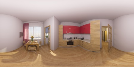 equirectangular: 3d illustration 360 degrees panorama of a kitchen interior