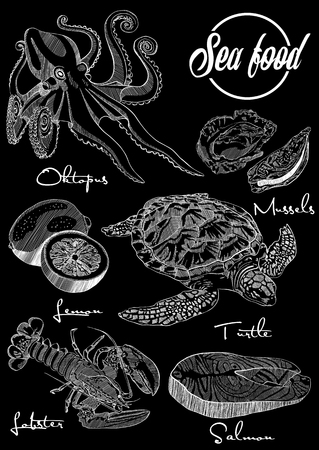 Vector illustration, design for a seafood restaurant menu.