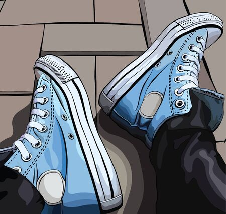 Vector illustration of a hand drawing sneakers