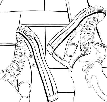 keds: Vector illustration of a hand drawing sneakers