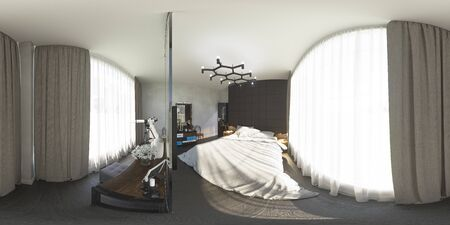 equirectangular: 3d illustration 360 degrees panorama of bedroom