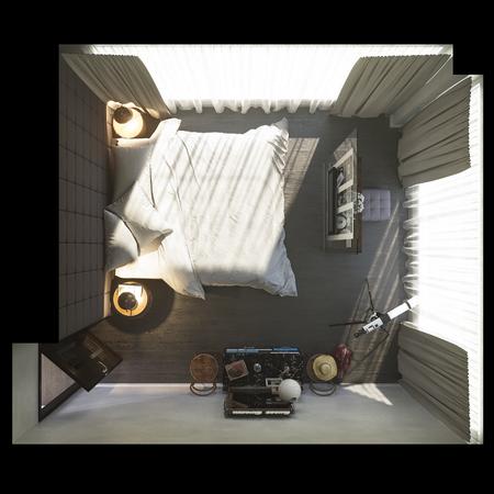 3d illustratie van slaapkamer binnenlands ontwerp Stockfoto