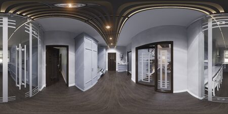 3d illustration hall interior design in classic style. Render is