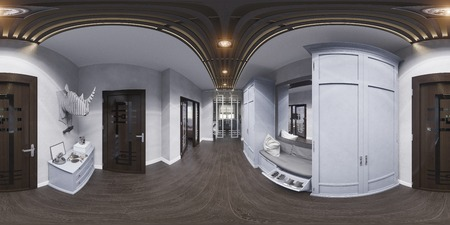 equirectangular: 3d illustration hall interior design in classic style. Render is