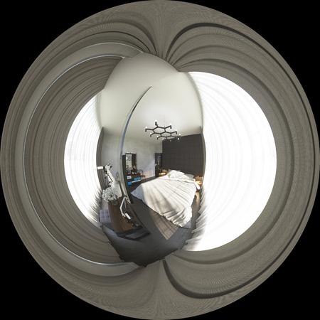 3d illustratie bolvormige 360 graden, naadloze panorama van bedr