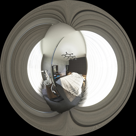 3d illustration spherical 360 degrees, seamless panorama of bedr