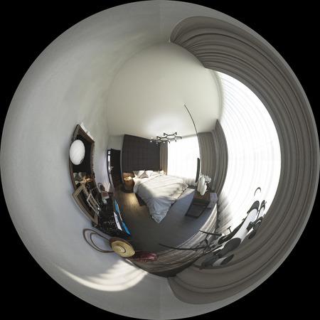 3d illustratie sferische 360 ??graden, naadloos panorama van bedr Stockfoto