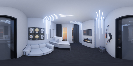 3d illustration of interior design of a home office in a space style. Foto de archivo