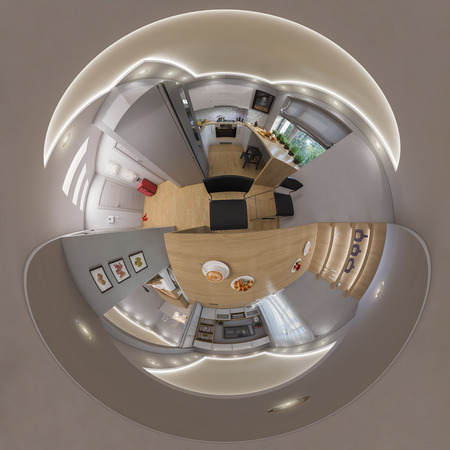 luxury living room: 3d render 360 seamless panorama of livingroom Stock Photo
