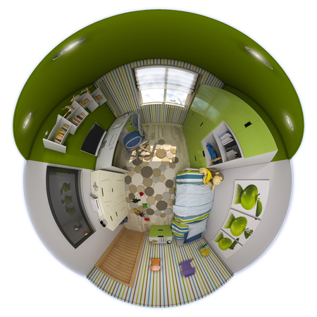 3d illustration 360 panorama of childrens room