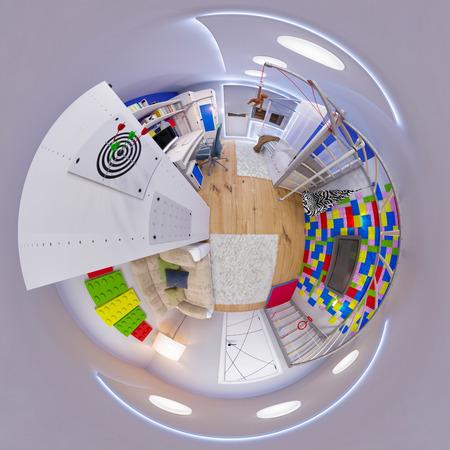 3d illustratie 360 ??panorama van de ruimte van kinderen