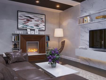 modern living room: 3d render of the interior design living room.
