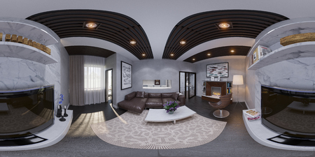 equirectangular: 3d render of the interior design of a living room