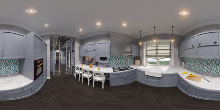 wood floor: 3d illustration of the kitchen interior design