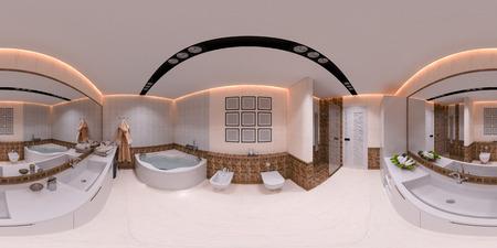 bathroom mirror: 3d illustration 360 degrees panorama of bathroom