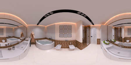 3d illustration 360 degrees panorama of bathroom