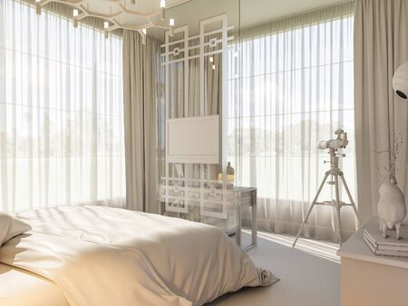 3d illustration of an interior design of a bedroom in Scandinavian style. Visualization of a bedroom without textures and materials in gray tones. White room render