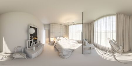 equirectangular: 3d illustration spherical 360 degrees, seamless panorama of bedroom interior design. The bedroom is made without textures and materials. Interior in Scandinavian style