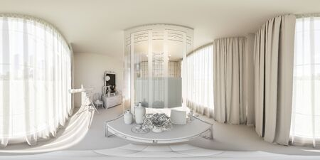 living room design: 3d illustration spherical 360 degrees, seamless panorama of bedroom interior design. The bedroom is made without textures and materials. Interior in Scandinavian style