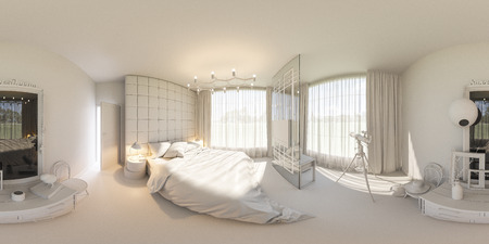 3d illustration spherical 360 degrees, seamless panorama of bedroom interior design. The bedroom is made without textures and materials. Interior in Scandinavian style