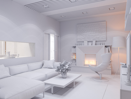 cozy: 3d illustration of the interior design of the living room. The interior style of the apartment is modern. Render without textures and materials Stock Photo