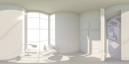 equirectangular: 3d illustration of the interior design of the living room. The style of the apartment is modern without textures. Render is executed, 360 degree spherical seamless panorama for virtual reality. Stock Photo