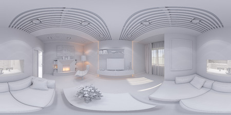 3d illustration of the interior design of the living room. The style of the apartment is modern without textures. Render is executed, 360 degree spherical seamless panorama for virtual reality. Stock Photo